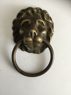 Antique brass Lion Face / Mask Drawer pull handle cupboard Old
