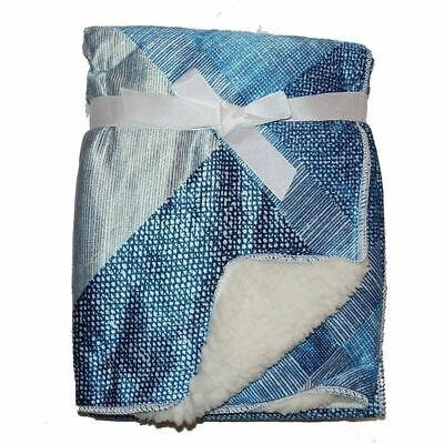 Blue Squares Mink Sherpa Fleece Baby Cot Crib Pram Moses Blanket 75 x 100 cm