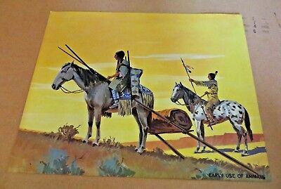 Vintage 1962 Teach A Chart Poster Early Use of Animals Horse Native American #26