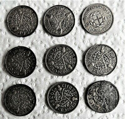 9 x Silver 3d UK Coins 1930-40 (50% .500 silver 50% Copper)