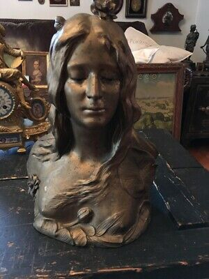 Rare Antique Art Nouveau Spelter Covered Partially Nude Lady Bust Very Detailed