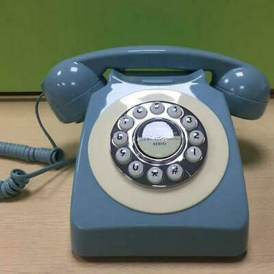 Vintage Push Button Telephone Blue Retro Rotary Dial Phone Desk Collectors Gift