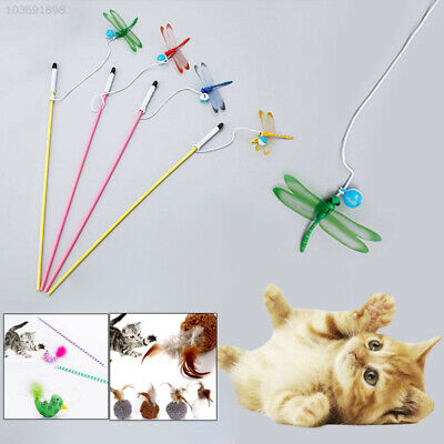 1A82 Feather Pet Toys Interactive Amuse Kitten Plush Ball Rod Plaything Gadget