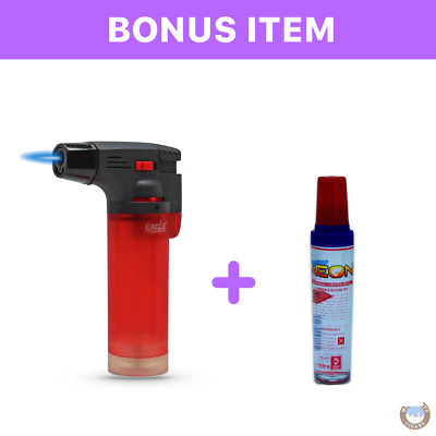 Eagle Jet Torch Gun Adjustable Flame Refillable Red & bonus lighter