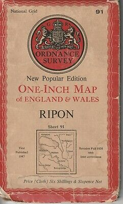 1947 Old Ordnance Survey Map Ripon Thirsk One Inch 6th Series 91 Cloth