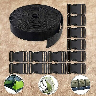 REKYO 1 Inch Wide 10 Yards Black Nylon Heavy Webbing Strap and 12 PCS Flat Side