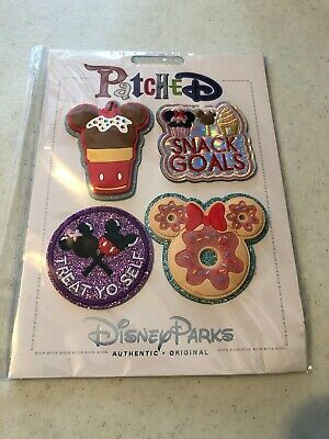 Disney Parks Patched Mickey Snack Patch Set Adhesive Ice Cream Donut Minnie New