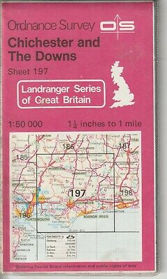 Ordnance Survey Map Sheet 197 Chichester & The Downs, Portsmouth, Bognor OS