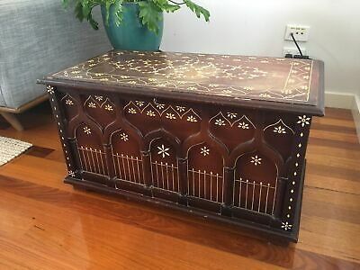 Vintage timber detailed chest with side handles and lock