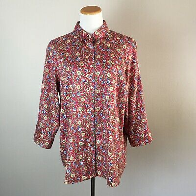 618a8235292d1b CHAPS NO IRON womens 2X plus size red floral print 3/4 sleeve blouse shirt