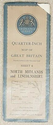 1946 Ordnance Survey Cloth Quarter-Inch Map 4th edition Sheet 6 North Midlands