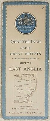 1946 Ordnance Survey Cloth Quarter-Inch Map 4th edition Sheet 9 East Anglia