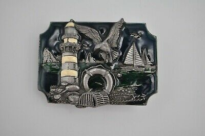 Vtg Siskiyou Pewter Belt Buckle G-85/S Enamel Lighthouse Nautical Coast Sailboat