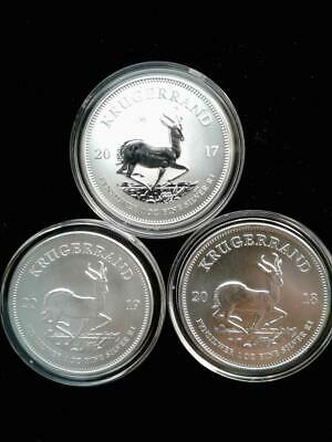 Lot of 3 - 1 oz .999 South African Silver Krugerrand Coin, 2017 PU, 2018-2019 BU