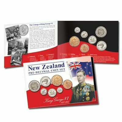 New Zealand 1937 - 1952 King George VI Pre Decimal Coin Set