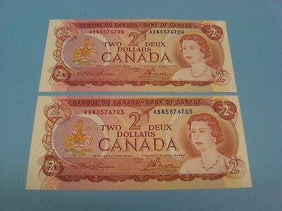 "Lot of 2 1974 Canada 2 dollar  bill crisp ""uncirculated""  unc .... Consecutive"