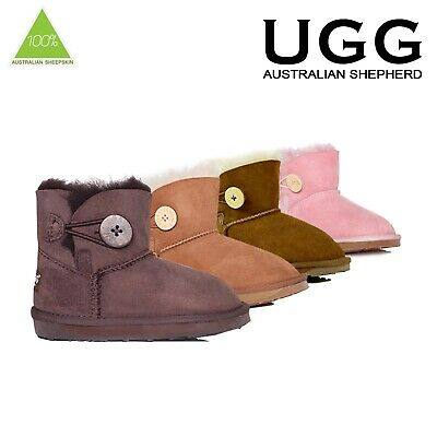 Australian Sheepskin Kids UGG Boots Child Mini Button Premium Water Resistant