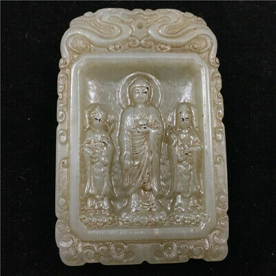 64mm China old 100% Natural hetian white jade handcarved cameo guanyi Pendant
