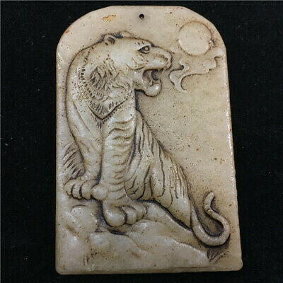 80mm Chinese 100% Natural hetian white old jade handcarved tiger Pendant