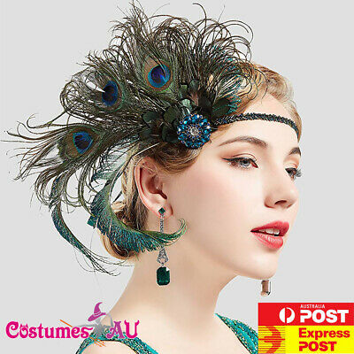 20s Peacock Gatsby Headband Flapper 1920s Feather Costume Gatsby Party Headpiece