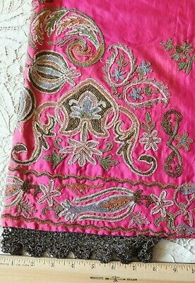 Antique c1890 Turkish Harem Pants~Hand Embroidered With Metallic Threads