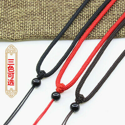 Natural black jade beads handwoven Circle string cord rope for pendant Necklace