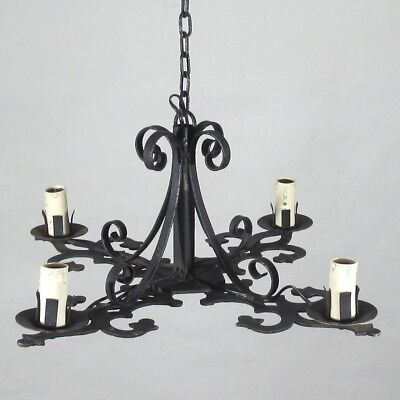 VintageFrench Wrought Iron Chandelier, Four Lights