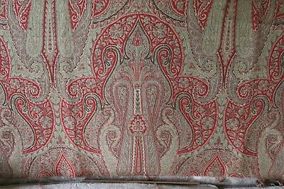 Partial Antique c1870 Wool Paisley Medallion Frame Woven Norwich Shawl