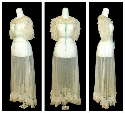 VTG 1930's Sheer Silk Net Lace Velvet Sequins BIAS CUT Bridal Dress Gown Museum