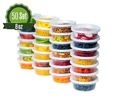 50 Pack 8 oz Plastic Food Storage Containers with Lids - Deli Slime Small Round