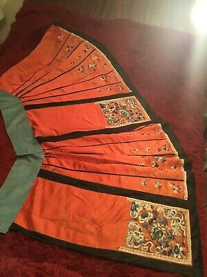 Antique Late 19Th/ Early 20Th Qi'ing Chinese Embroidered Silk Skirt Embroidery!