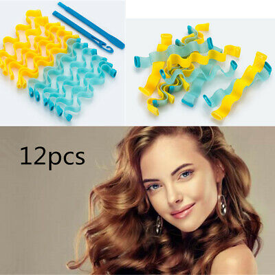 12pcs/set Water Wave Formers Spiral Styling Rollers Magic Hair Curler Formers AU