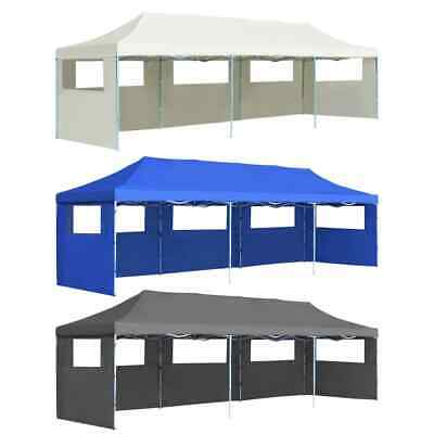 vidaXL Carpa Plegable Jardín Pop-up 5 Paredes 3x9m Patio Crema/Antracita/Azul