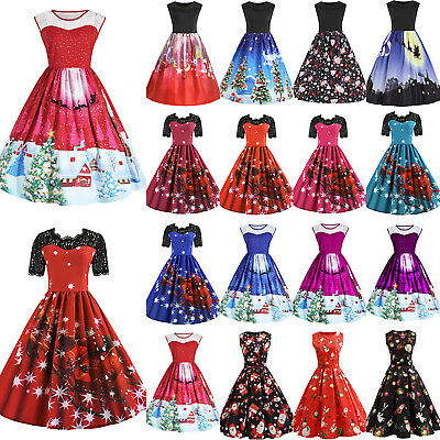 Plus Size Womens Ladies Christmas Xmas Santa Rockabilly Party Skater Swing Dress