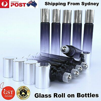 10 Pcs 10ml Thick Gradient Glass Roller Bottles Roll On Big Steel Essential Oil