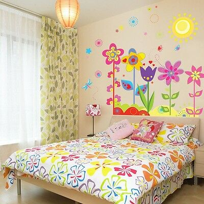 Flowers Sunshine Wall Sticker Decal For Art Kids Nursery Baby Bedroom Display