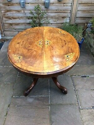 BURR WALNUT INLAID BREAKFAST LOO TABLE circa 1860. Collection from West London