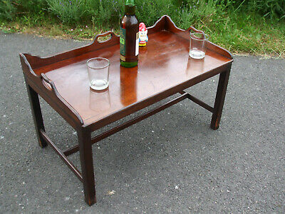 Antique mahogany butler's tray coffee table, genuine Victorian tray, 1920s base