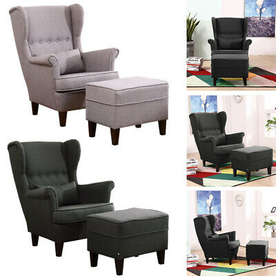Chesterfield High Back Leisure Sofa Armchair Chair with Ottoman Set Home Bedroom
