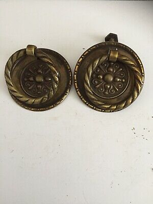 Pair Antique Drawer Pull Handles Door Cabinet Brass Reclaimed Old Salvage