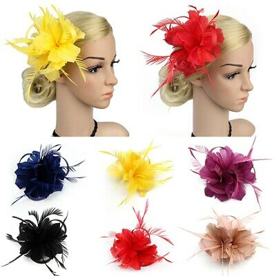 Flower Hair Clip Feathers Small Mini Top Hat Wedding Fascinator for Girls