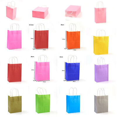 10 Recyclable Bright Paper Party Bags - Gift Bag With Handles -Birthday Loot Bag