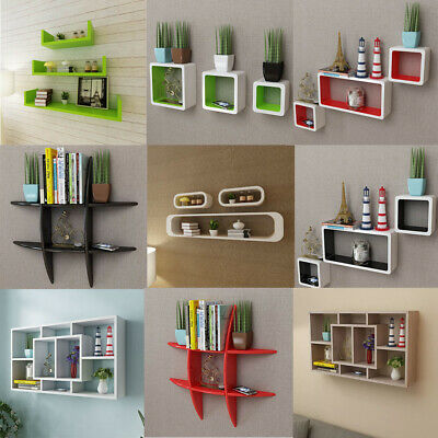 MDF Floating Wall Display Shelf Space Saving Cube Book Storage Shelves New