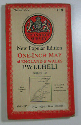 1947 Old OS Ordnance Survey One-Inch New Popular Edition Map 115 Pwllheli