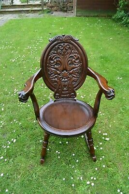 Victorian / Edwardian Green Man Carved Mahogany Rocking Chair