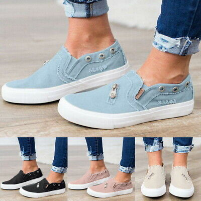 Womens Denim Canvas Loafers Pumps Casual Slip On Flat Trainers Sneakers Shoes AU
