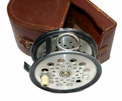 "HRH prince Axel of Denmark Farlow BWP 4-1/2"" fly reel & Farlow leather case"