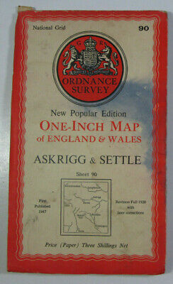 1947 Old OS Ordnance Survey New Popular One Inch Edition Map 90 Askrigg & Settle