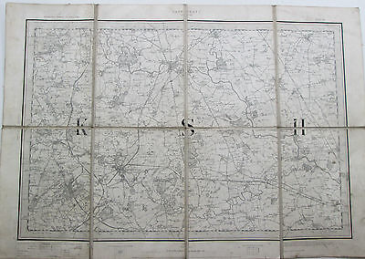1901 Old Antique OS Ordnance Survey New Series One-Inch Map 62 Harrogate