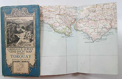 1932 old vintage OS Ordnance Survey one-inch Fifth Edition map 145 Torquay